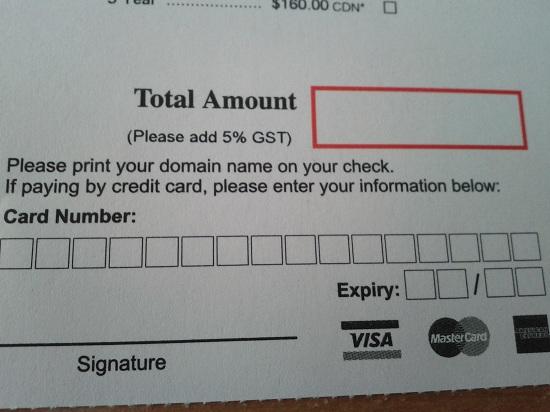 Informations pour cartes de crédit